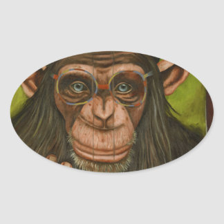 The Book Of Chimps Oval Sticker