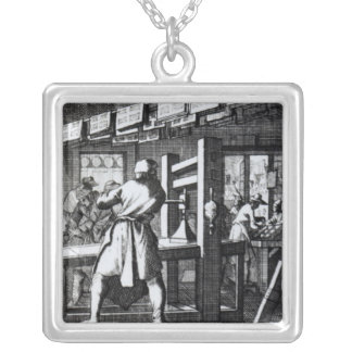 The Book Printer Silver Plated Necklace