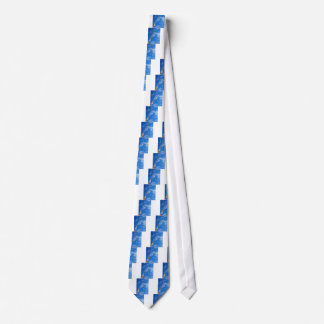 The boom of the crane on a diagonal against a blue tie