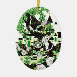 The boot cat and dial type telephone and onioohash Double-Sided oval ceramic christmas ornament