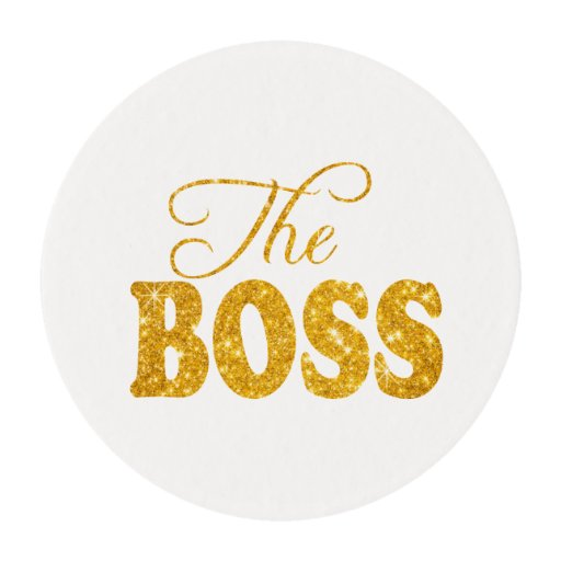 the boss gold glittery letters edible frosting rounds zazzle With edible gold letters