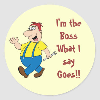 The Boss Round Stickers Template