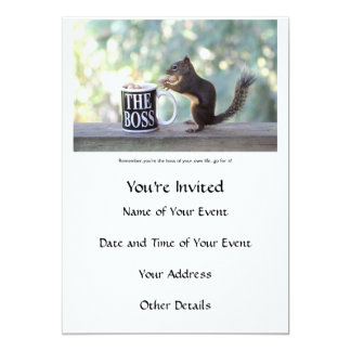 """The Boss"" Squirrel 5x7 Paper Invitation Card"