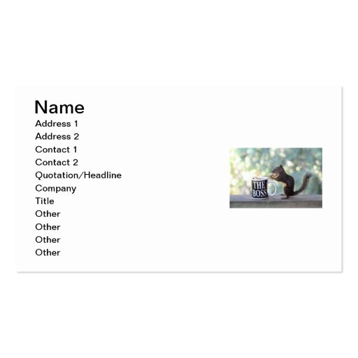"""""""The Boss"""" Squirrel Business Card Template"""