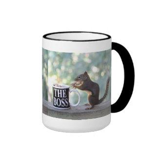 The Boss Squirrel Ringer Coffee Mug