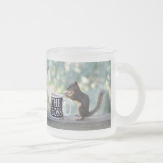 The Boss Squirrel 10 Oz Frosted Glass Coffee Mug
