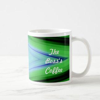 The Boss's Coffee Green and Blue Template Coffee Mug