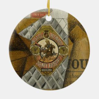 The Bottle of Anís del Mono by Juan Gris Ceramic Ornament