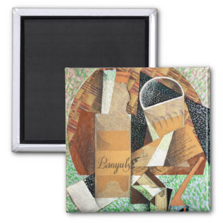The Bottle of Banyuls, 1914 (gouache & collage) 2 Inch Square Magnet