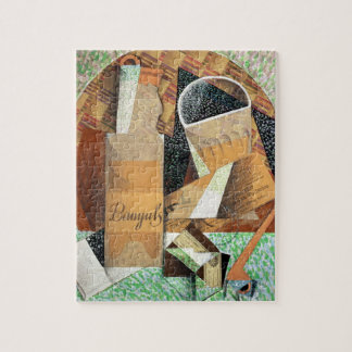 The Bottle of Banyuls, 1914 (gouache & collage) Jigsaw Puzzle