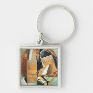 The Bottle of Banyuls, 1914 (gouache & collage) Keychain