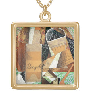 The Bottle of Banyuls, 1914 (gouache & collage) Square Pendant Necklace