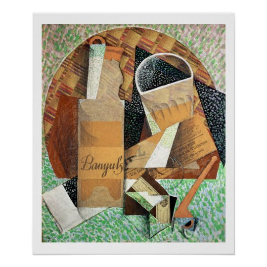 The Bottle of Banyuls, 1914 (gouache & collage) Poster