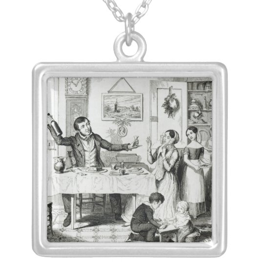 The Bottle, Plate I Silver Plated Necklace