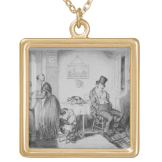 The Bottle, Plate II, He is discharged from his em Square Pendant Necklace