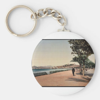 The boulevards, Cannes, Riviera vintage Photochrom Basic Round Button Keychain