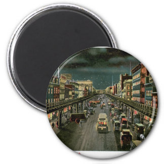 The Bowery, by Night, New York. Vintage. 2 Inch Round Magnet