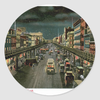 The Bowery, by Night, New York. Vintage. Classic Round Sticker