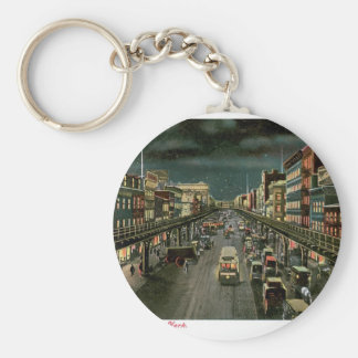 The Bowery, by Night, New York. Vintage. Keychain