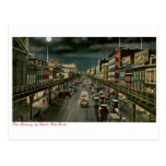The Bowery, by Night, New York. Vintage. Post Card