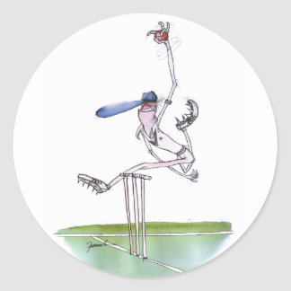 the bowler - cricket, tony fernandes classic round sticker