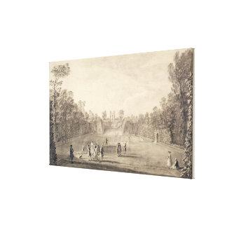 The Bowling Green at Claremont, 1738 (engraving) Canvas Print