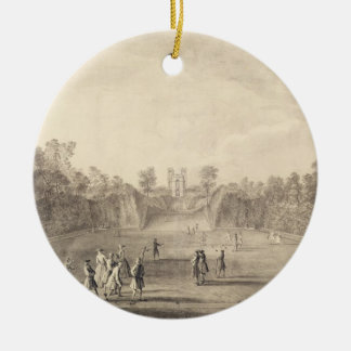 The Bowling Green at Claremont, 1738 (engraving) Ceramic Ornament