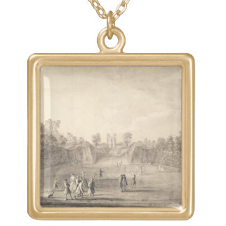 The Bowling Green at Claremont, 1738 (engraving) Square Pendant Necklace