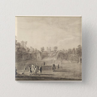 The Bowling Green at Claremont, 1738 (engraving) Pinback Button