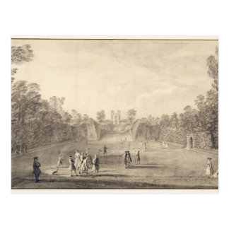 The Bowling Green at Claremont, 1738 (engraving) Postcard