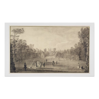 The Bowling Green at Claremont, 1738 (engraving) Poster