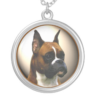 The Boxer Dog Round Pendant Necklace