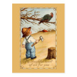 The Boy and the Turkey Postcard