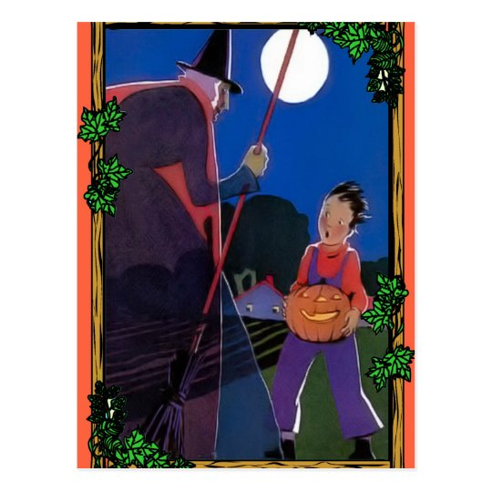 The boy and the witch postcard