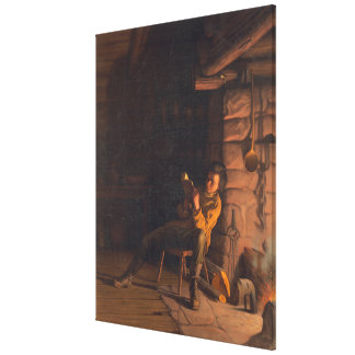 The Boyhood of Lincoln An evening in the log hut Canvas Print