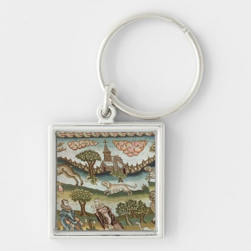 The Bradford Table Carpet Silver-Colored Square Keychain