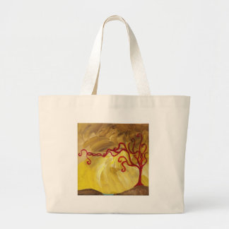 THE BRAIDED RED TREE Minimalist Art Gear Large Tote Bag