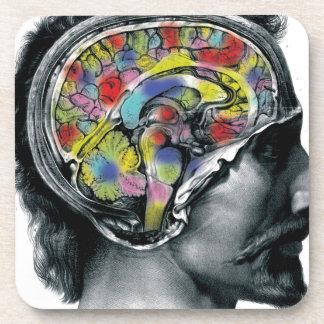 the brain colors art design coaster