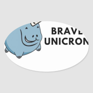 The Brave Unicorn Oval Sticker