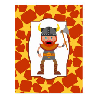 The brave viking warrior post card