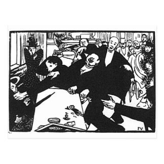 The brawl at the scene or cafe by Felix Vallotton Postcard