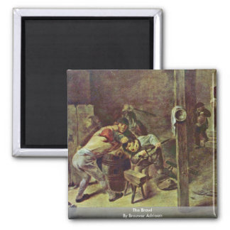 The Brawl By Brouwer Adriaen 2 Inch Square Magnet