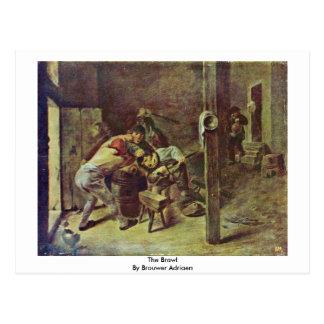 The Brawl By Brouwer Adriaen Postcard