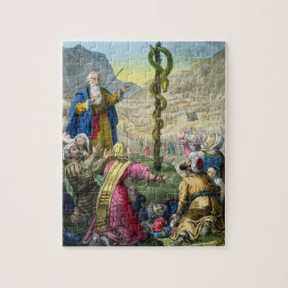 The Brazen Serpent, from a bible printed by Edward Jigsaw Puzzle