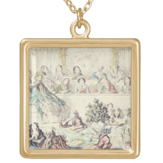 The Breach of Promise - cartoon hand coloured etch Square Pendant Necklace