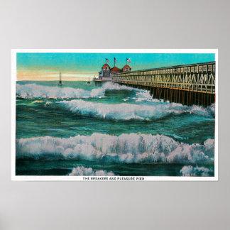 The Breakers and Pleasure PierLong Beach, CA Poster