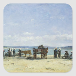 The Breton Fishermen's Wives, 1870-73 (oil on pane Square Sticker