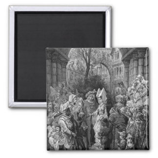 The Bride and Groom entering the hall 2 Inch Square Magnet