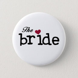 The Bride Black with Red Heart Button