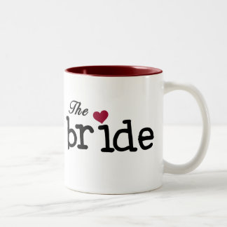 The Bride Black with Red Heart Two-Tone Coffee Mug
